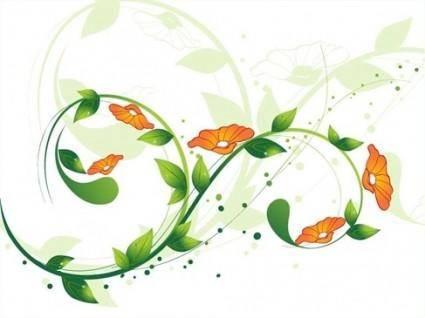 free vector Green Swirl Floral Vector illustration