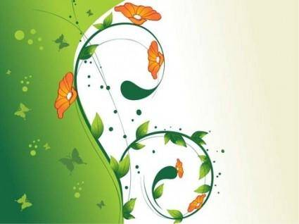 Green Swirl Floral Vector illustration 2