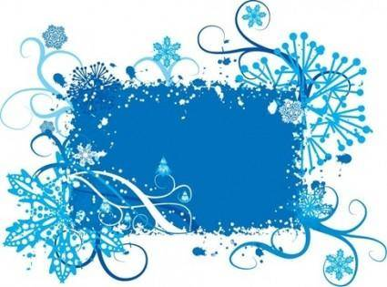 Blue Snowflake and Floral Background Vector Graphic
