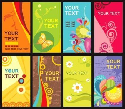 free vector Colorful Floral Card Template Vector Material