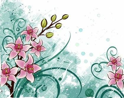 free vector Lily flowers with Grunge Floral Background