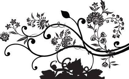 free vector Black Floral Vector