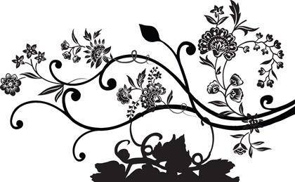 Black Floral Vector