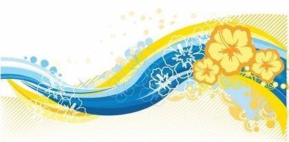 Free Wave Curve Floral Vector Graphic