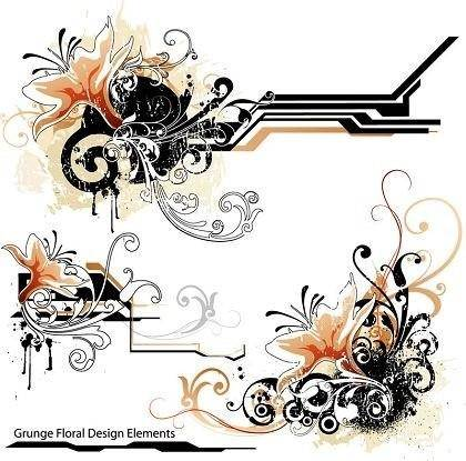 free vector The Trend Lines and Floral Design Elements