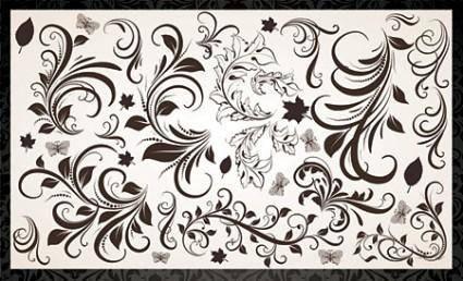 Vector Floral Elements and Vintage Backgrounds
