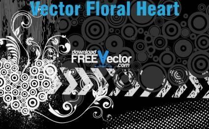 free vector Vector Floral Heart