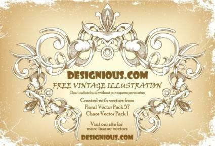 free vector Free vintage floral frame