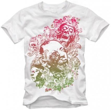 free vector Floralzombienightmaretshirtdesign