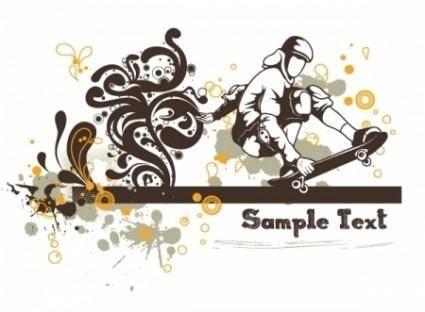 free vector Floral vector background - skater