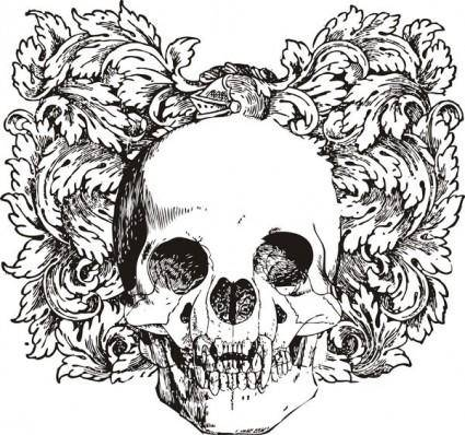 Floral skull vector illustration