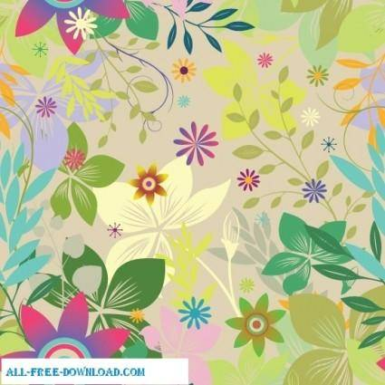 free vector Colorful floral seamless pattern background