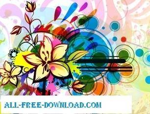 free vector Colorful floral background vector background
