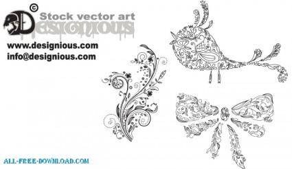 free vector Samples Floral 77  Birds 5  Christmas 10