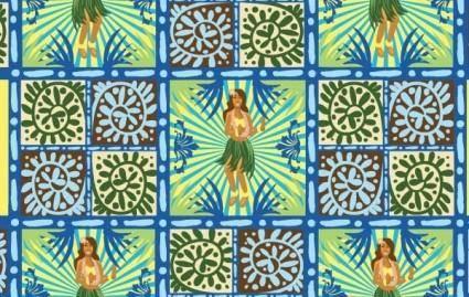 Hawaii Floral Wallpaper Vector- Free