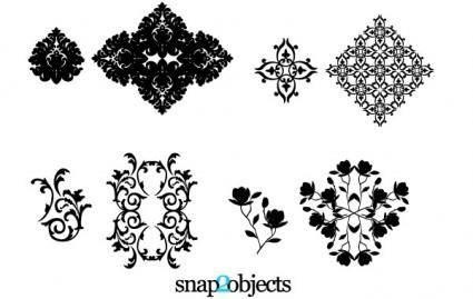 free vector Four Vector Floral Ornaments