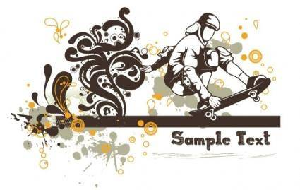 free vector Floral vector background - skater