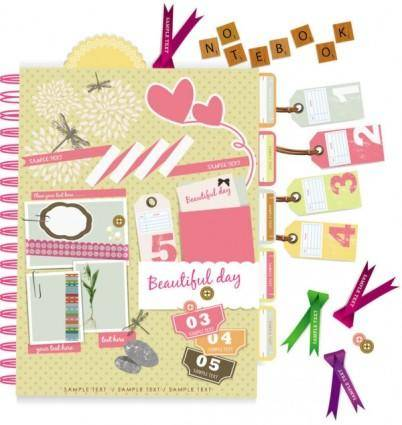 Beautiful pink stickers elements 03 vector