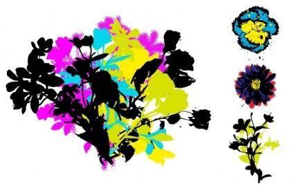 free vector Retro Grunge Floral Vectors