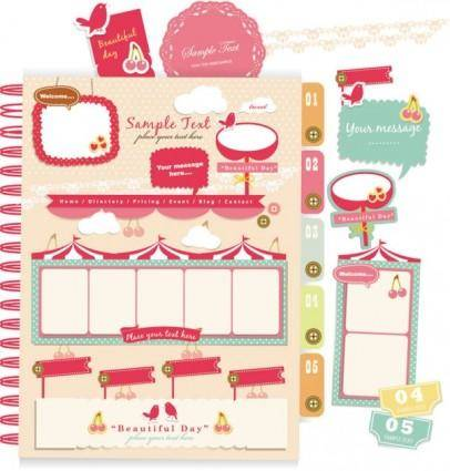 free vector Beautiful pink stickers elements 04 vector