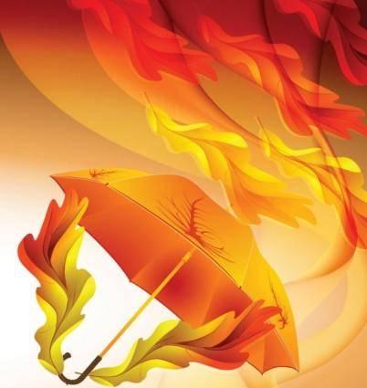 Beautiful maple leaf umbrella 03 vector