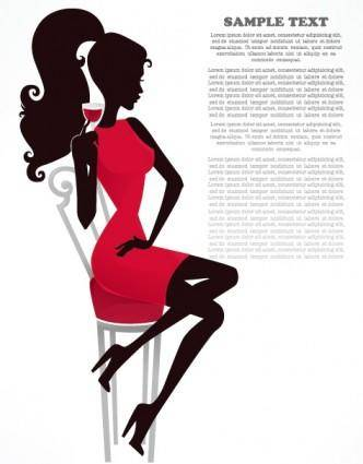 free vector Fashion beauty silhouette 01 vector