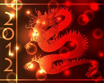 2012 year of the dragon 05 vector