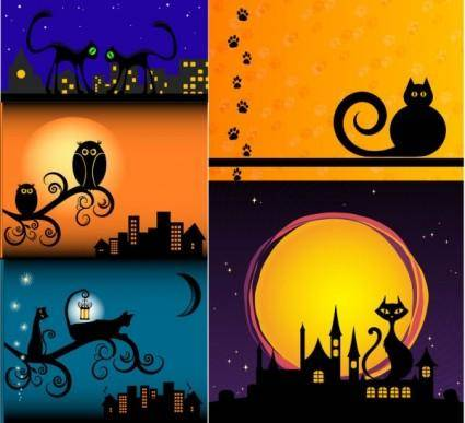 Meow cat silhouette vector