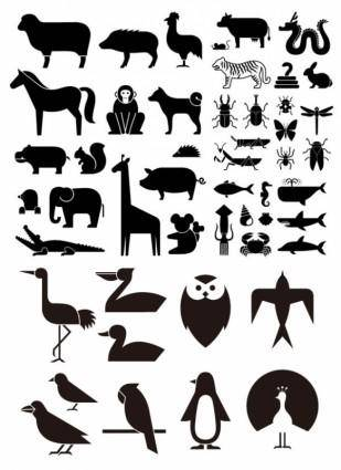 Various elements of vector silhouette animal silhouettes 49 elements