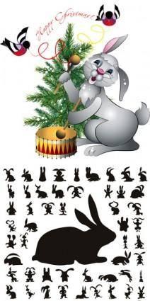 free vector Cute bunny silhouette vector