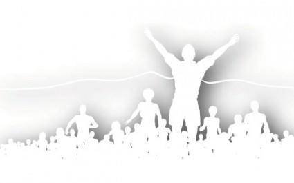free vector Crowd cheering silhouette vector