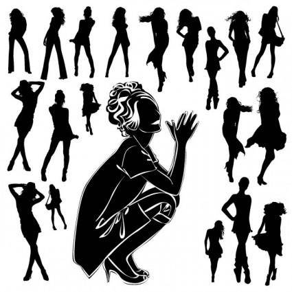 free vector Beautiful black and white silhouette 05 vector