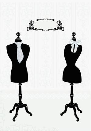 free vector Black and white silhouette hanger model 05 vector