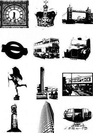London city silhouette vector elements