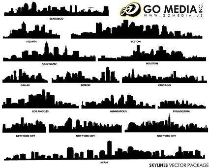 free vector Go media produced vector buildings silhouette