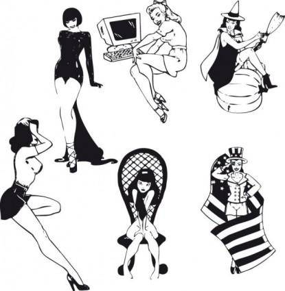 Sexy black and white silhouette 04 vector