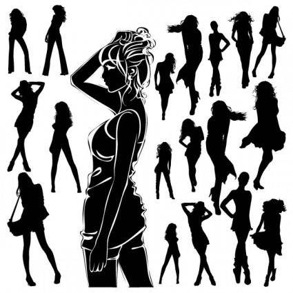 Beautiful black and white silhouette 01 vector