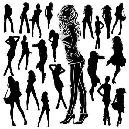 free vector Beautiful black and white silhouette 03 vector