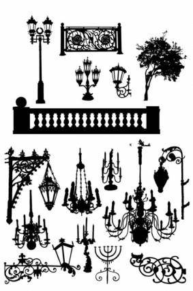 Black and white lamps silhouette vector