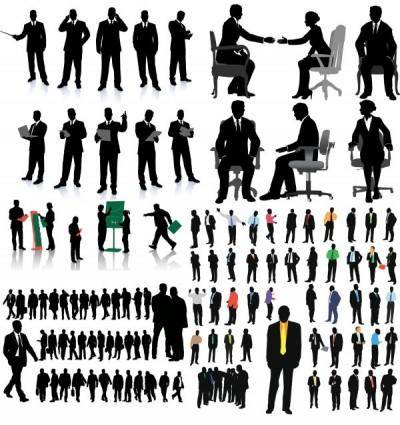 Commercial whitecollar office silhouette vector