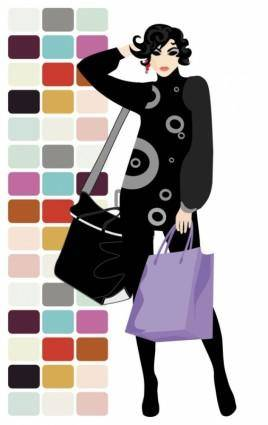 Fashion shopping beauty silhouette 05 vector