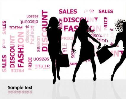 Fashion shopping beauty silhouette 01 vector