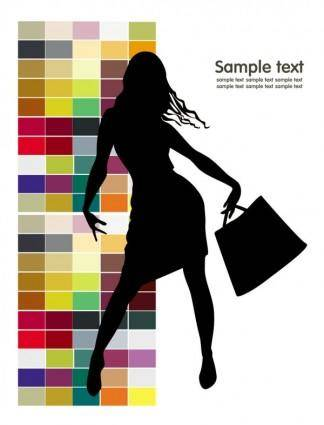 free vector Fashion shopping beauty silhouette 02 vector