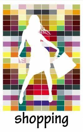 Fashion shopping beauty silhouette 03 vector