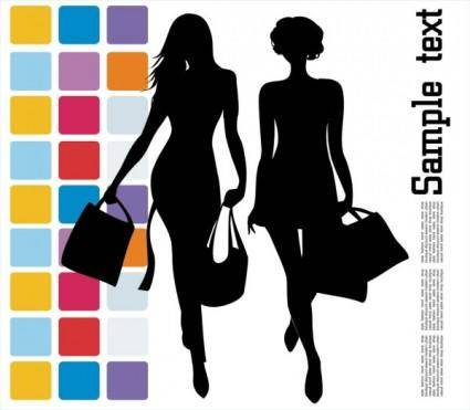 Fashion shopping beauty silhouette 04 vector
