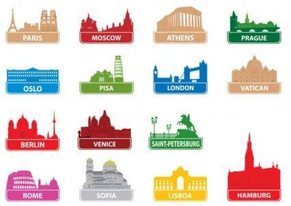 free vector The worldfamous city building silhouette 01 vector