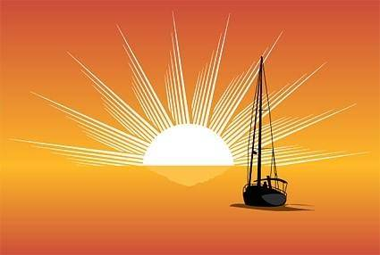 free vector Sea sunset sailboat silhouette vector