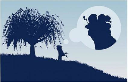 Large trees couple silhouette vector