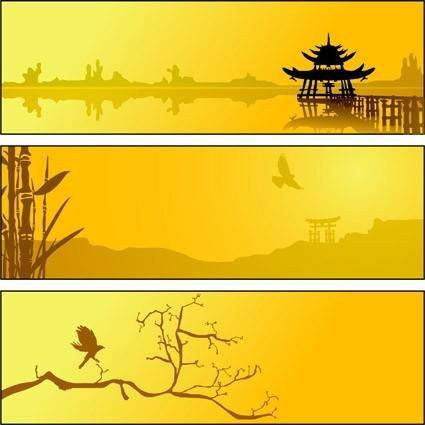 free vector Summer lake scenery silhouette vector