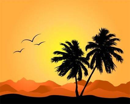 free vector Coconut trees and mountain silhouette vector again and again